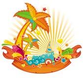 Bandera del tema de la playa ilustración del vector