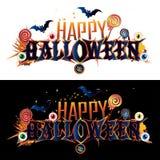Bandera del texto del feliz Halloween ilustración del vector