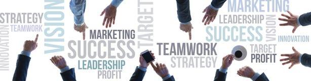 Bandera del trabajo en equipo y del éxito del negocio Imagen de archivo