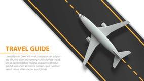 Bandera del transporte aéreo con el avión en tira de la pista - diseño de las vacaciones y de concepto del viaje Bandera con el a libre illustration
