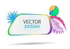 Bandera del vector con el loro Capítulo para el texto con un carácter Marco de la historieta para el texto Diseño de banderas par ilustración del vector