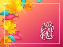 Bandera del vector con la etiqueta de las letras de la mano - otoño - y hojas brillantes realistas Imagenes de archivo
