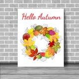 Bandera del vector con las hojas de otoño coloridas Fotografía de archivo libre de regalías