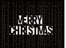 Bandera del vector de la Feliz Navidad, texto blanco, letras negativas del estilo del espacio en fondo negro con las luces diciem Ilustración del Vector