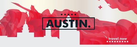 Bandera del vector de la pendiente de la ciudad del horizonte de los E.E.U.U. Austin libre illustration