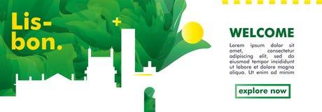 Bandera del vector de la pendiente de la ciudad del horizonte de Portugal Lisboa Ilustración del Vector