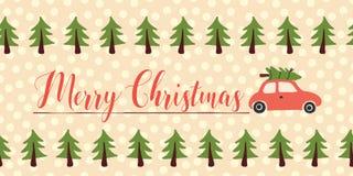 Bandera del vector de los saludos de la Navidad inconsútil Coche rojo con el árbol de navidad en el tejado Texto de las letras de stock de ilustración