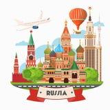 Bandera del vector de Rusia Cartel ruso con el aeroplano concepto del recorrido Foto de archivo
