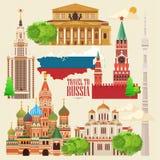Bandera del vector de Rusia Cartel ruso Recorrido a Rusia Imagen de archivo libre de regalías