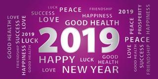 Bandera del vector de 2019 saludos de la Feliz Año Nuevo púrpura y plata stock de ilustración