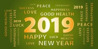 Bandera del vector de 2019 saludos de la Feliz Año Nuevo Verde y oro ilustración del vector