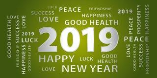 Bandera del vector de 2019 saludos de la Feliz Año Nuevo Verde y plata stock de ilustración