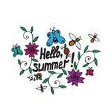 Bandera del vector del follaje del verano con hola el texto del verano Fotografía de archivo libre de regalías