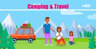 Bandera del vector el acampar y del viaje con las letras stock de ilustración