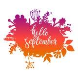 Bandera del vector del extracto del follaje del otoño Diseño tipográfico de la tarjeta de felicitación Hola septiembre Imagen de archivo libre de regalías
