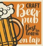 Bandera del vector para el mejor pub de la cerveza de la ciudad con la cerveza del arte en golpecito Ejemplo con inscripciones y  ilustración del vector