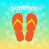 Bandera del verano con chancleta anaranjada Vector stock de ilustración