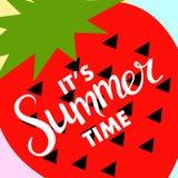 Bandera del verano con la fruta, lugar para el texto con la fresa, vector Imagen de archivo libre de regalías