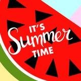 Bandera del verano con la fruta, lugar para el texto con la sandía, vector Imagen de archivo
