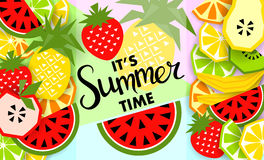 Bandera del verano con la fruta, lugar para el texto Vector Imagen de archivo