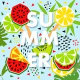 Bandera del verano con la sandía y el limón, lugar para el texto trendy Imágenes de archivo libres de regalías