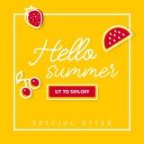 Bandera del verano de la escritura hola con las frutas en fondo amarillo Foto de archivo