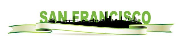 Bandera del verde de San Francisco Skyline Imagen de archivo libre de regalías
