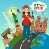 Bandera del viaje con los edificios famosos del mundo en el globo Fotos de archivo