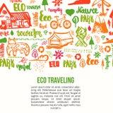 Bandera del viaje de Eco en el fondo blanco Concepto de la ecología con las letras y los elementos dibujados mano Fotografía de archivo libre de regalías
