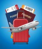 Bandera del viaje de negocios con el pasaporte, los boletos, el aeroplano y la maleta en fondo azul Concepto internacional del tr stock de ilustración