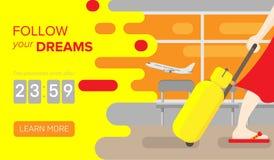 Bandera del viaje Bandera del web de la promoción Ejemplo plano que viaja ilustración del vector