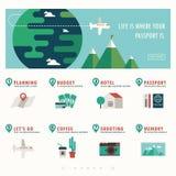 Bandera del viaje y de las vacaciones con infographic Foto de archivo libre de regalías
