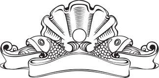 Bandera del vintage con la concha marina y la perla Fotografía de archivo libre de regalías