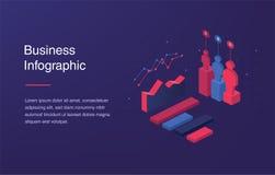 Bandera del web con la luz de neón e infographic isométrico moderno 3d para sus presentaciones del negocio Estilo isométrico de l stock de ilustración