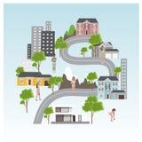 Bandera del web de la navegación de la ciudad Ciudad plana panorámica en el teléfono móvil con el perno y el mapa imagen de archivo
