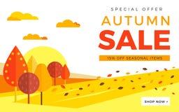 Bandera del web de la promoción de venta con el fondo del otoño promo libre illustration