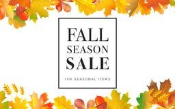 Bandera del web de la promoción de venta con el fondo del otoño promo stock de ilustración