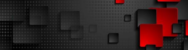 Bandera del web de la tecnología de los cuadrados negros y rojos Foto de archivo libre de regalías