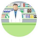 Bandera del web un icono de People del farmacéutico stock de ilustración