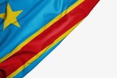 Bandera Democratic del Rep?blica del Congo de la tela con el copyspace para su texto en el fondo blanco libre illustration