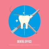 Bandera dental de la oficina con la jeringuilla y el escalpelo Imagen de archivo