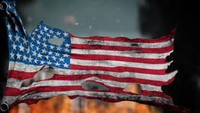 Bandera desigual apocalíptica de América Animación de Realistyc 3d en el viento stock de ilustración