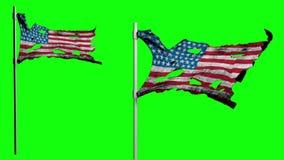 Bandera desigual apocalíptica de América Animación de Realistyc 3d en el viento Pantalla verde ilustración del vector