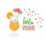 Bandera dibujada mano del verano de la tipografía, cóctel anaranjado, poniendo letras a verano del texto hola en lengua española Fotografía de archivo libre de regalías