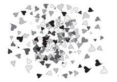 Bandera dispersada del confeti de los corazones stock de ilustración