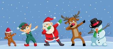 Bandera divertida de los personajes de dibujos animados de la Navidad que frota stock de ilustración