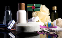 Bandera dominicana en el jabón con todos los productos para la gente Fotografía de archivo libre de regalías