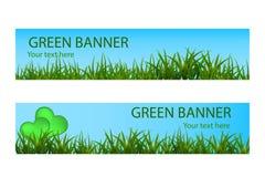 Bandera ecológica verde con la hierba verde y el cielo azul Imagenes de archivo