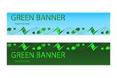 Bandera ecológica verde con los elementos verdes Imagen de archivo