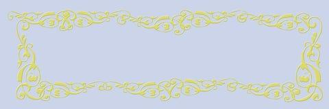 Bandera en blanco Fondo azul claro con el marco de oro foto de archivo